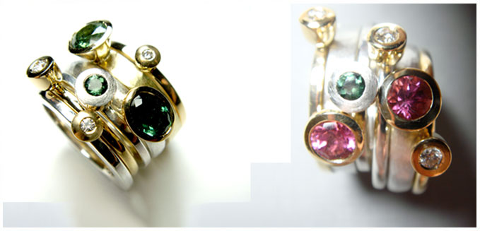 Tourmaline & diamond stacking rings - Mark Huttner